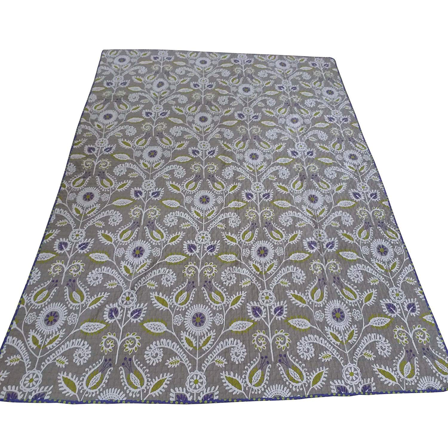 Cotton Tale Designs 100% Cotton Periwinkle Gray/Grey, Purple, Green Floral & Polka Dots Dot Reversible Quilt - Girl - Twin & Full/Queen (Full/Queen) by Cotton Tale Designs