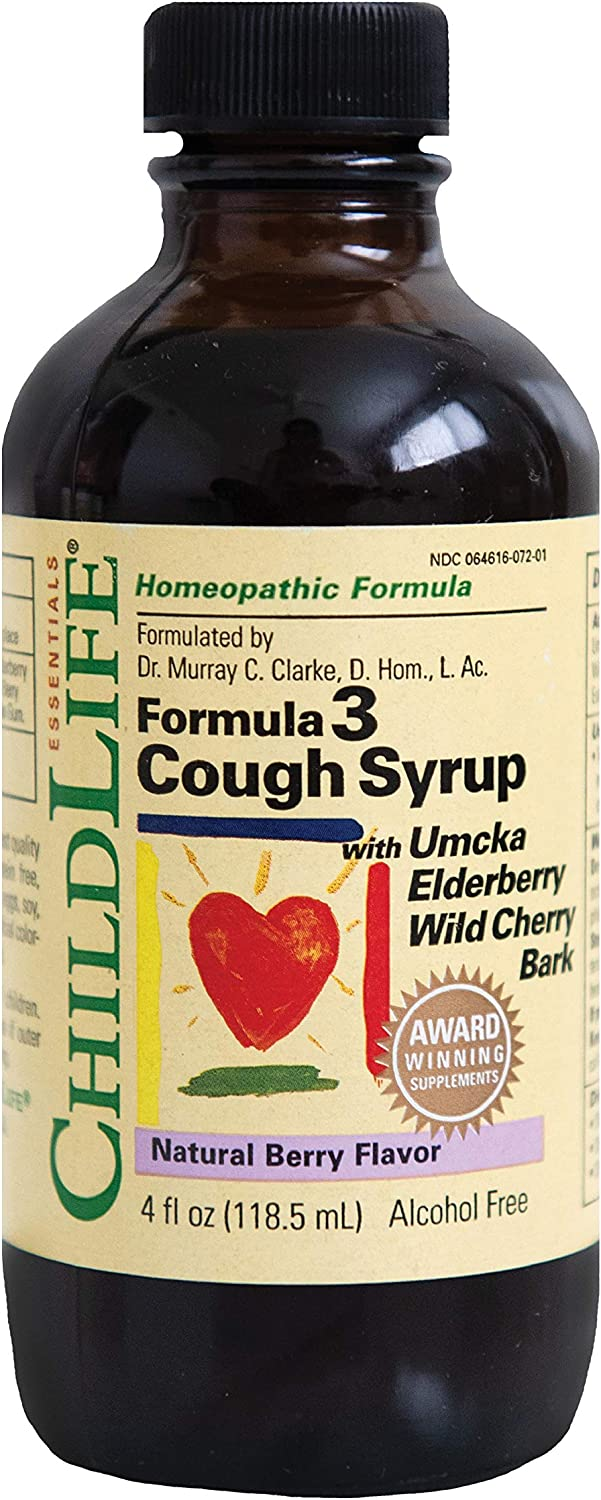 ChildLife Essentials Formula 3 Cough Syrup for Infants, Babys, Kids, Toddlers, Children, and Teens Natural Berry Flavor, 4 Ounce