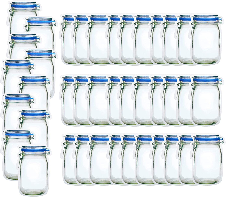 40 Mason Jar Bags, Reusable Mason Jar Ziplock Bags Airtight Food Snack Sandwich Storage Bag Zipper Sealed Bags for Kids Camping, Wide Mouth