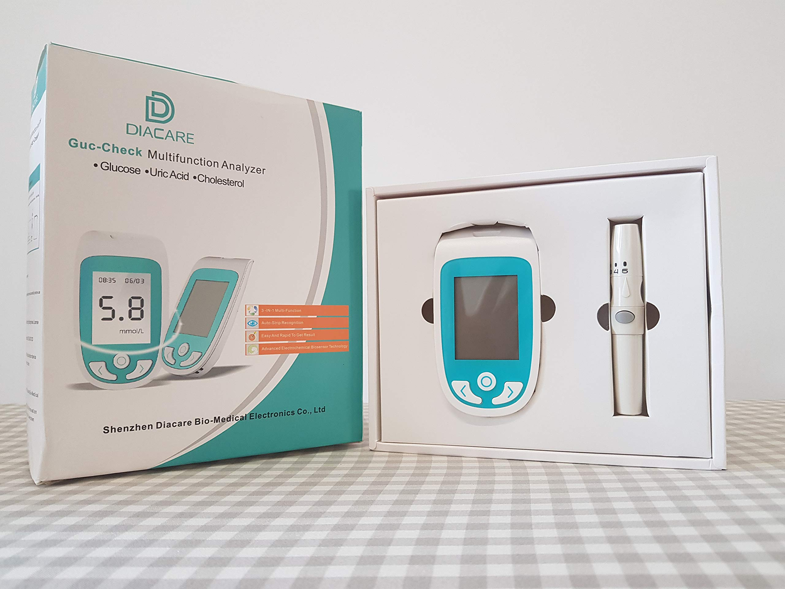 DIACARE GUC-Check Multi-Monitoring System Total Cholesterol, Blood Glucose, Uric Acid 3-in-1 Meter