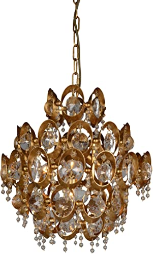 AA Warehousing LZ3398-4GF Gold Finish 4 Light Crystal Chandelier