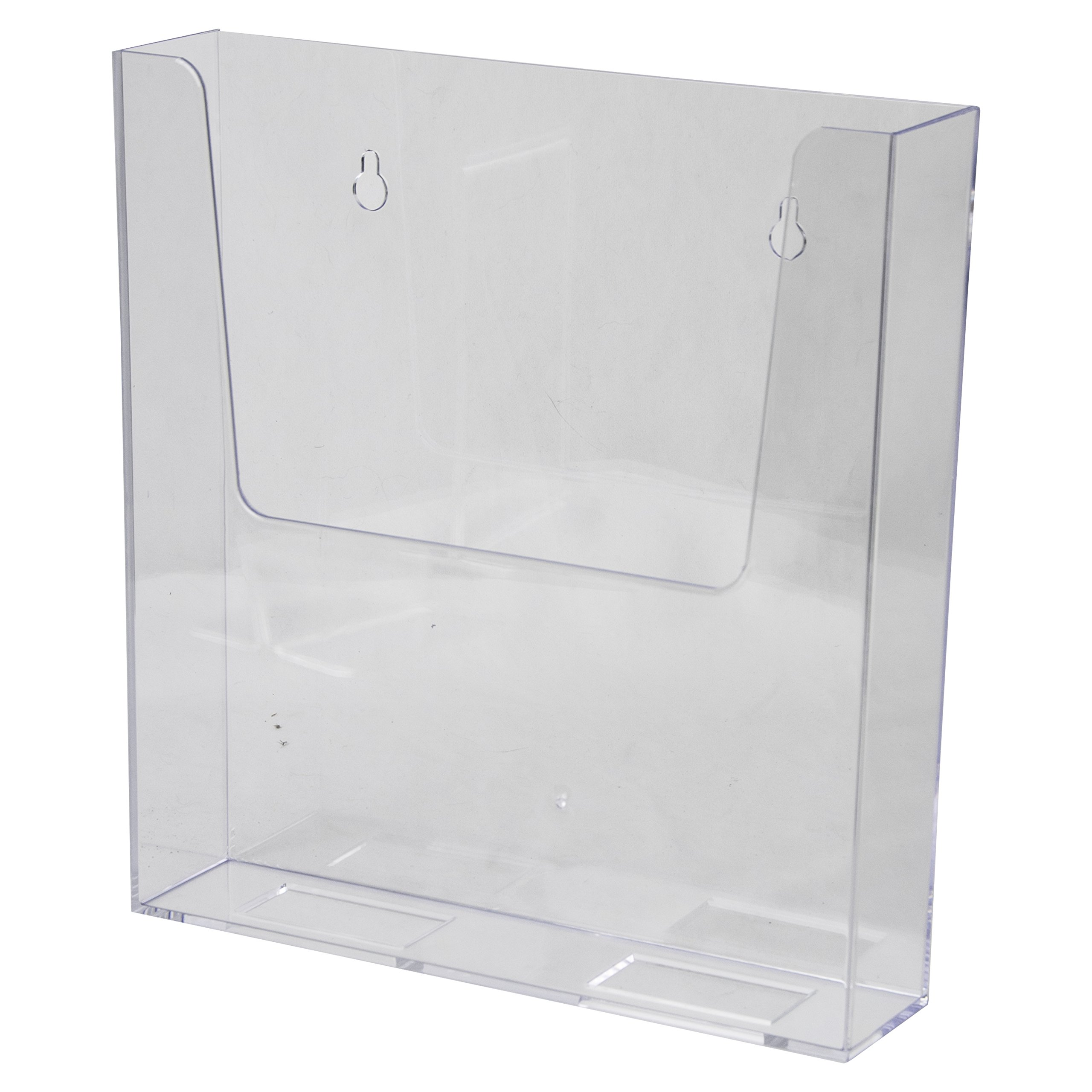 Clear-Ad - Acrylic Wall Mount Brochure Holder 8.5x11 - Plastic Hanging Flyer Holders - Adhesive or Wall Mounted File and Magazine Rack - Single Pocket Literature Display Box - LHW-M161 (Pack of 16)