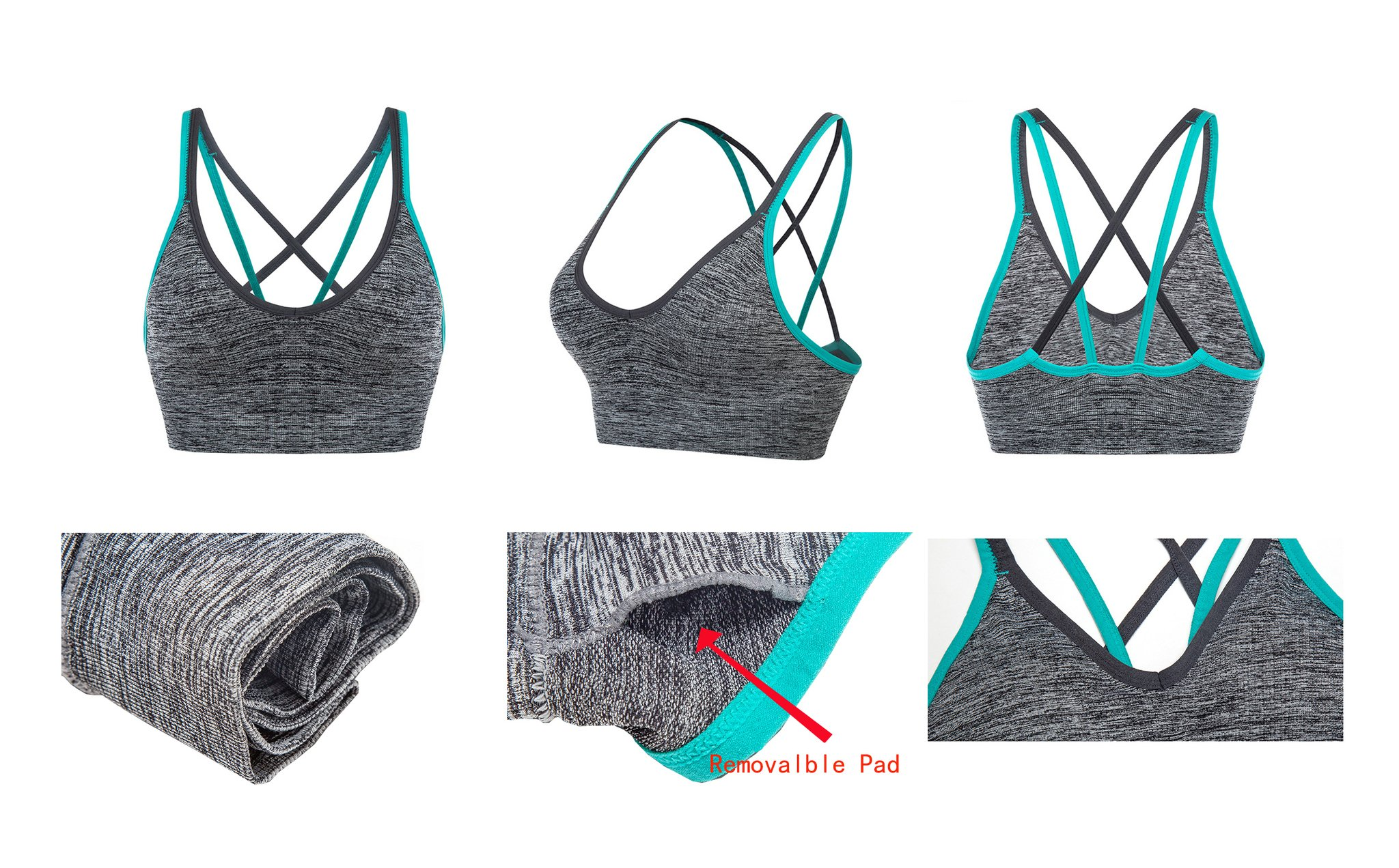 AKAMC Women's Removable Padded Sports Bras Medium Support Workout Yoga Bra 3 Pack by AKAMC (Image #4)