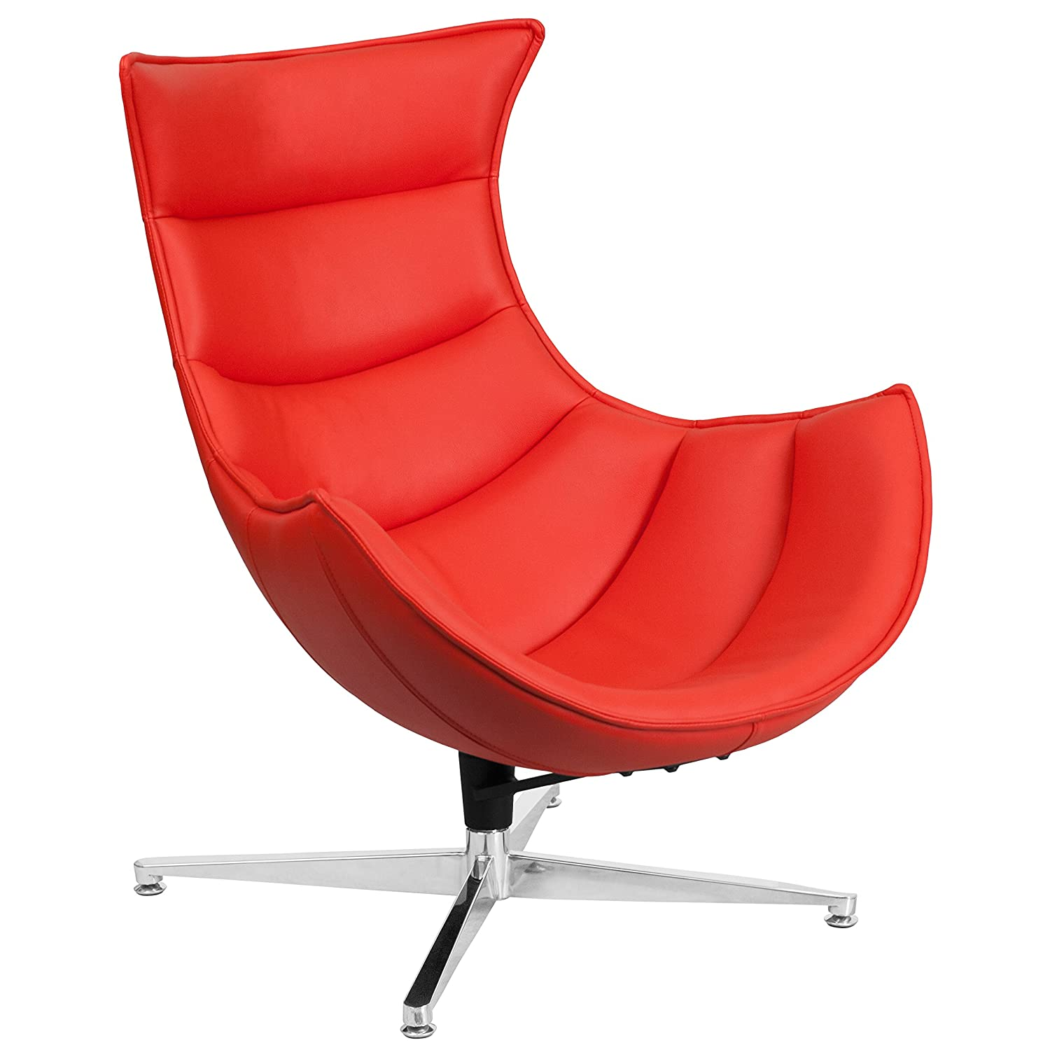 Amazon Flash Furniture Red Leather Swivel Cocoon Chair