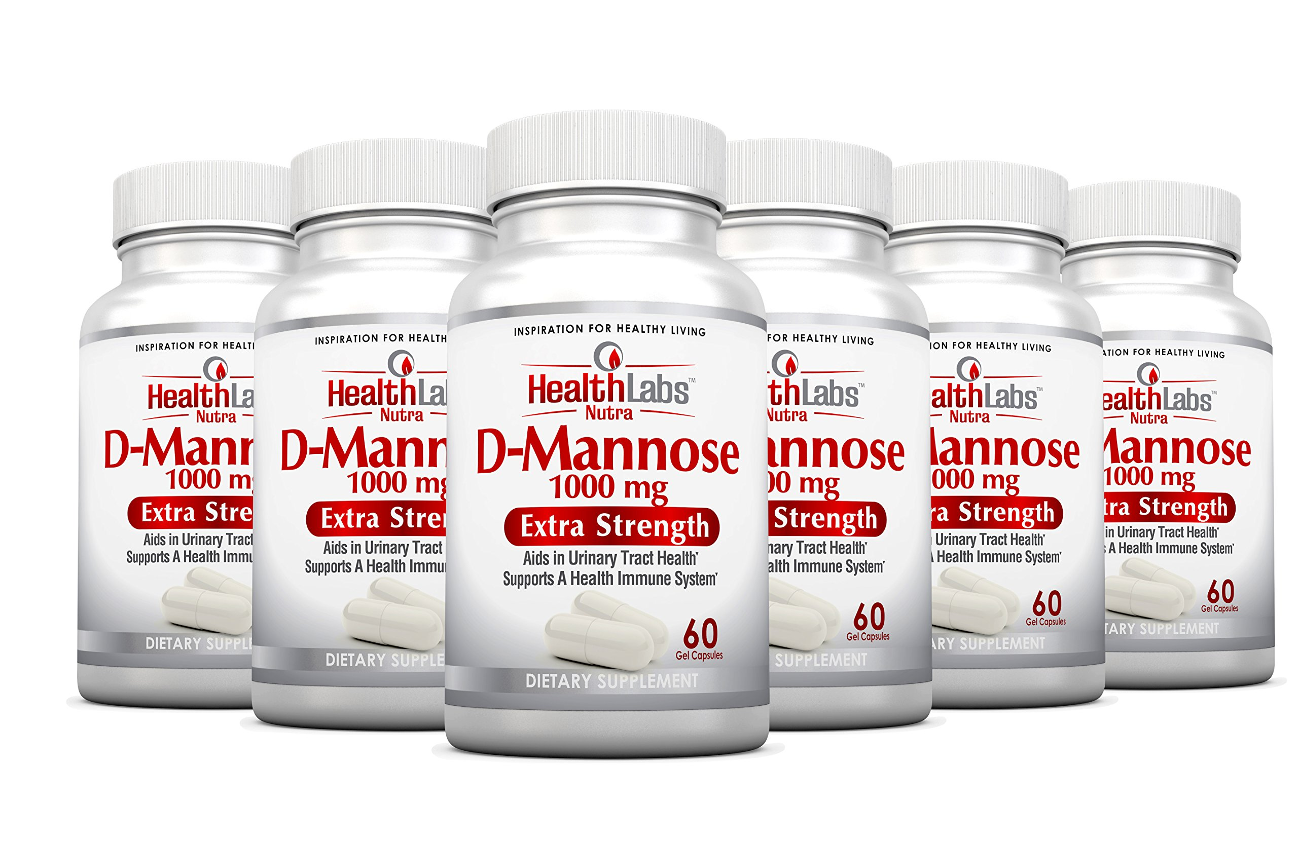 Health Labs Nutra D-Mannose 6-Month Supply 1,000mg – Fight Urinary Tract Infections & Promote a Healthy Bladder (Pack of 6)
