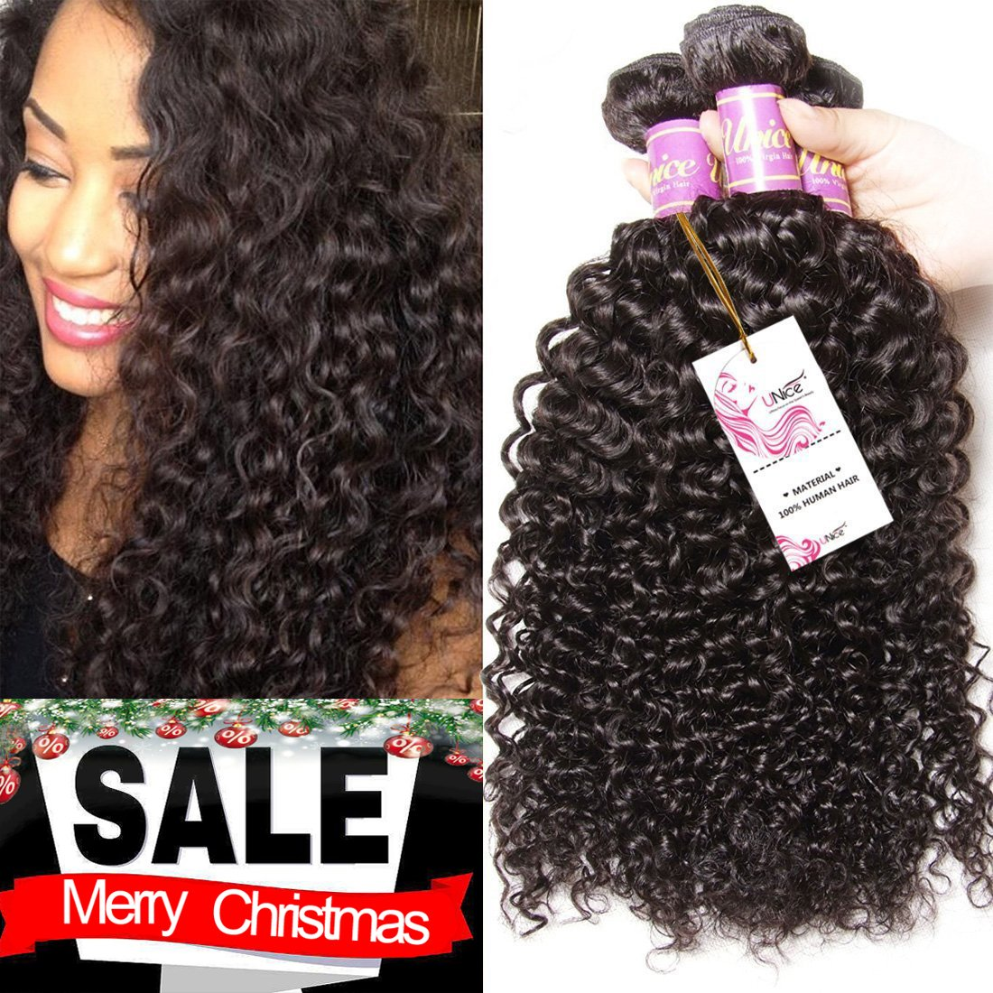 Unice Hair 3 Bundles Brazilian Curly Virgin Hair Weave 16 18 20inches Unprocessed Human Hair Extensions Natural Color Can Be Dyed and Bleached