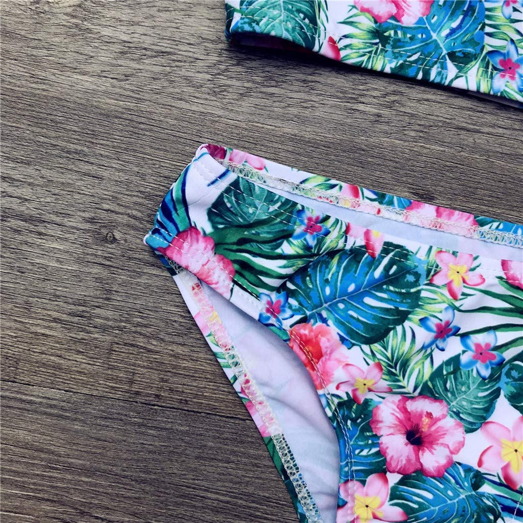 Cute Baby Kids Girls Floral Swimsuits Toddler Girl 2Pcs Halter Bowknot Bikini Tops with Shorts Swimwear Beach Bathing Suit