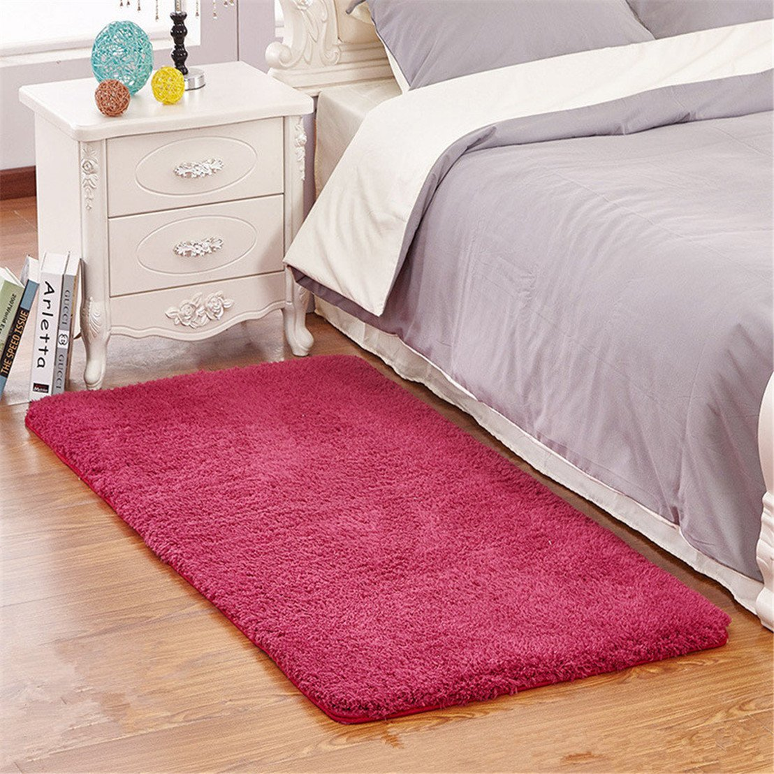 Mynse 23.6x47.2 Modern Simplicity Super Soft Plush Area Rugs for Bedroom Living Room Bedside Hotel Mat (Coffee)
