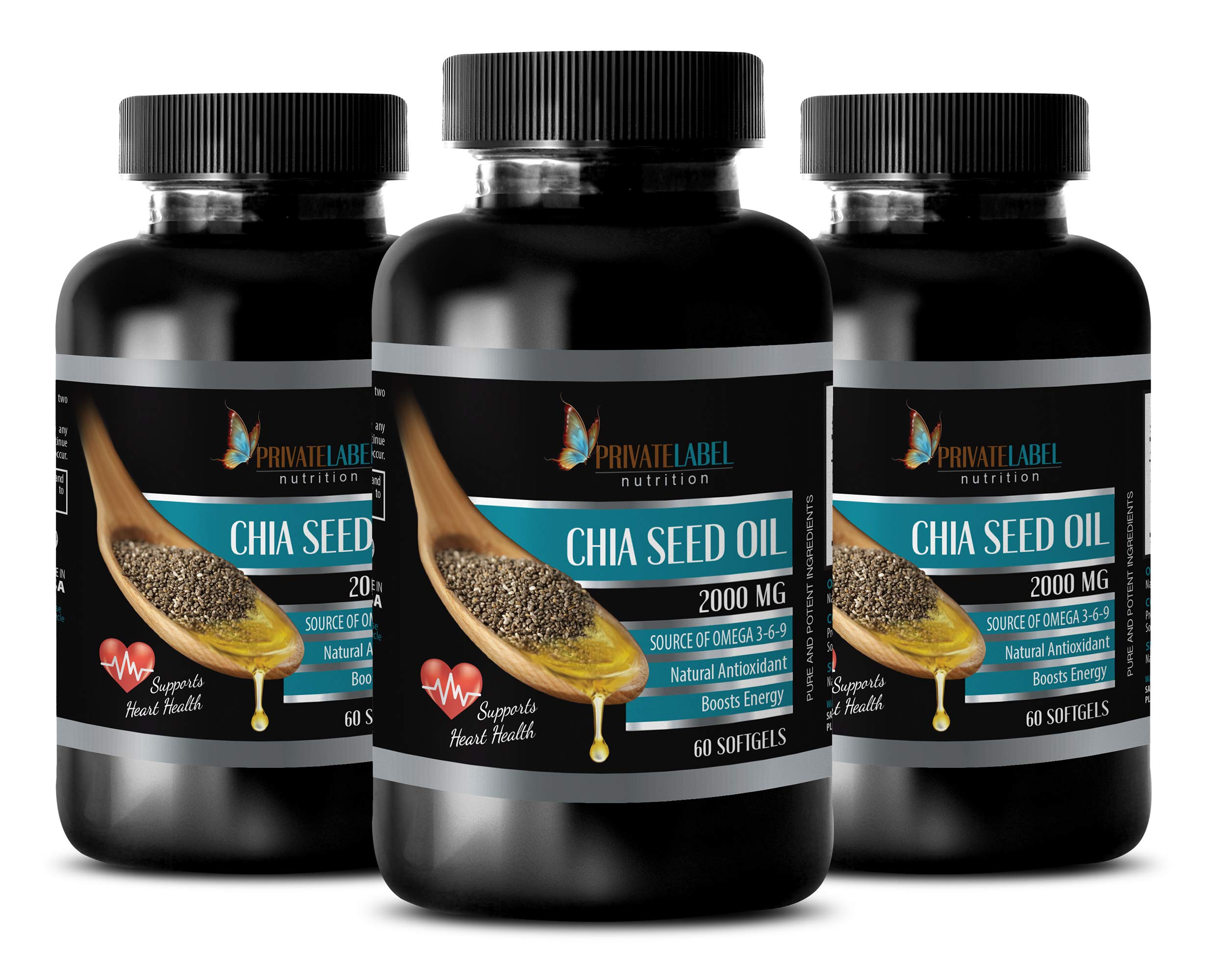 Immune System Natural Products - CHIA Seed Oil 2000MG - Source of Omega 3-6-9 - Supports Heart Health - chia Seed softgels - 3 Bottles (180 Softgels)
