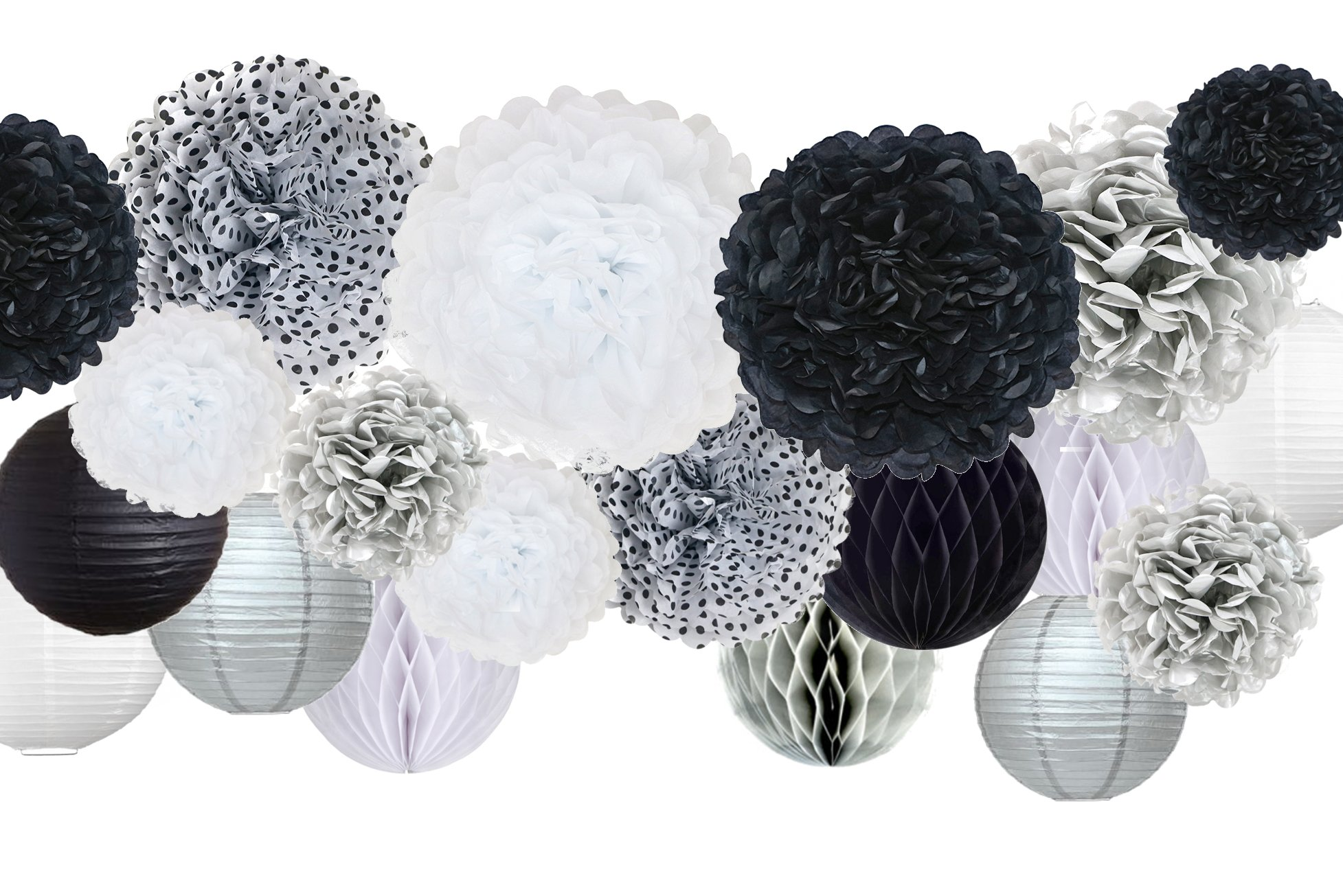 30 Pcs Tissue Paper Pom Pom Kit, Mixed Sizes 14'', 10'', 8'', 6'', Paper Flowers, Lanterns, Honeycomb Balls, for Wedding, Birthday, Anniversary, Retirement, Bridal Shower, Black, Silver, White, Polka dot