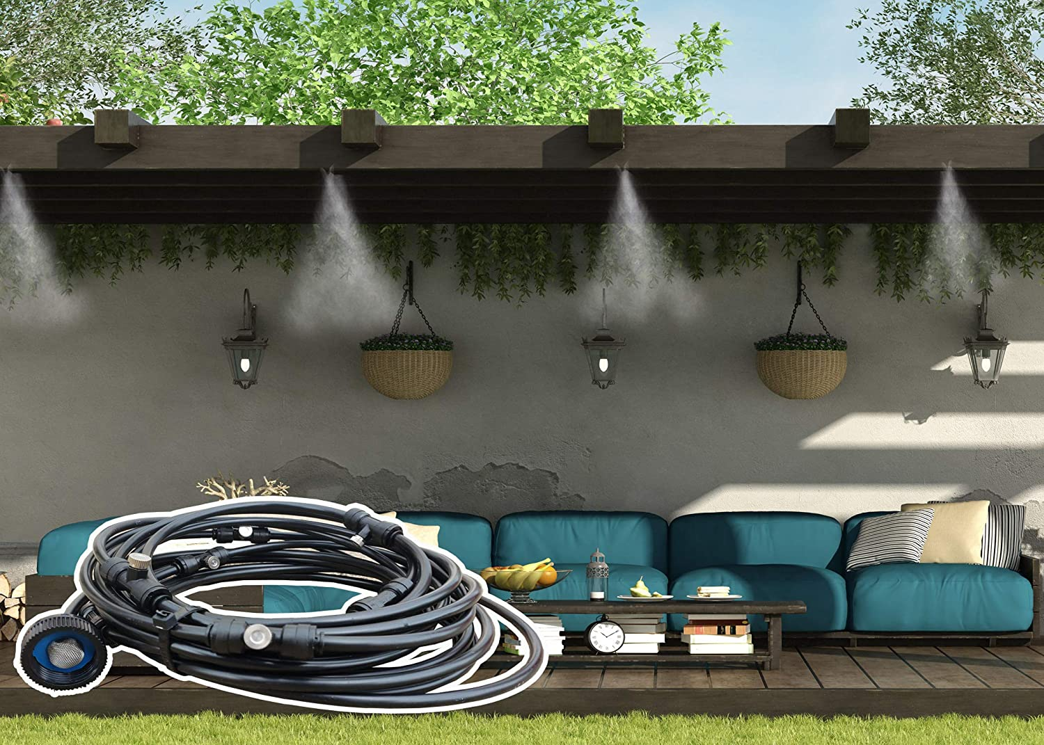 for Outdoor Cooling Patio Misting System 4 Nozzle Misting System 4 Nozzle System