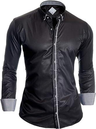 D&R Fashion Camisa de Vestir Negra para Hombre Tela Brillante Doble puños Gemelos algodón: Amazon.es: Ropa y accesorios