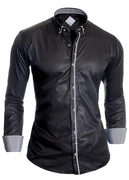 D&R Fashion Camisa de Vestir Negra para Hombre Tela Brillante Doble puños Gemelos algodón