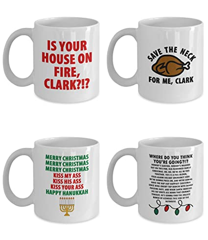 christmas vacation movie funny mug gift set of four clark griswold merry kiss my ass hanukkah
