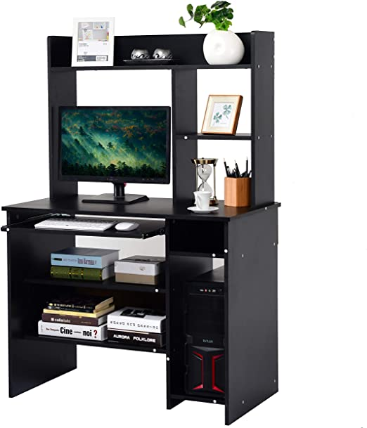 Tangkula Computer Desk, Computer Workstation with Storage Bookcase, on home library with ladder, home office furniture ideas, home office desk with drawers, home office furniture design, girls loft bunk beds with desk, home office bookcase with ladder, home office desk furniture wood, home office wall units with desk,