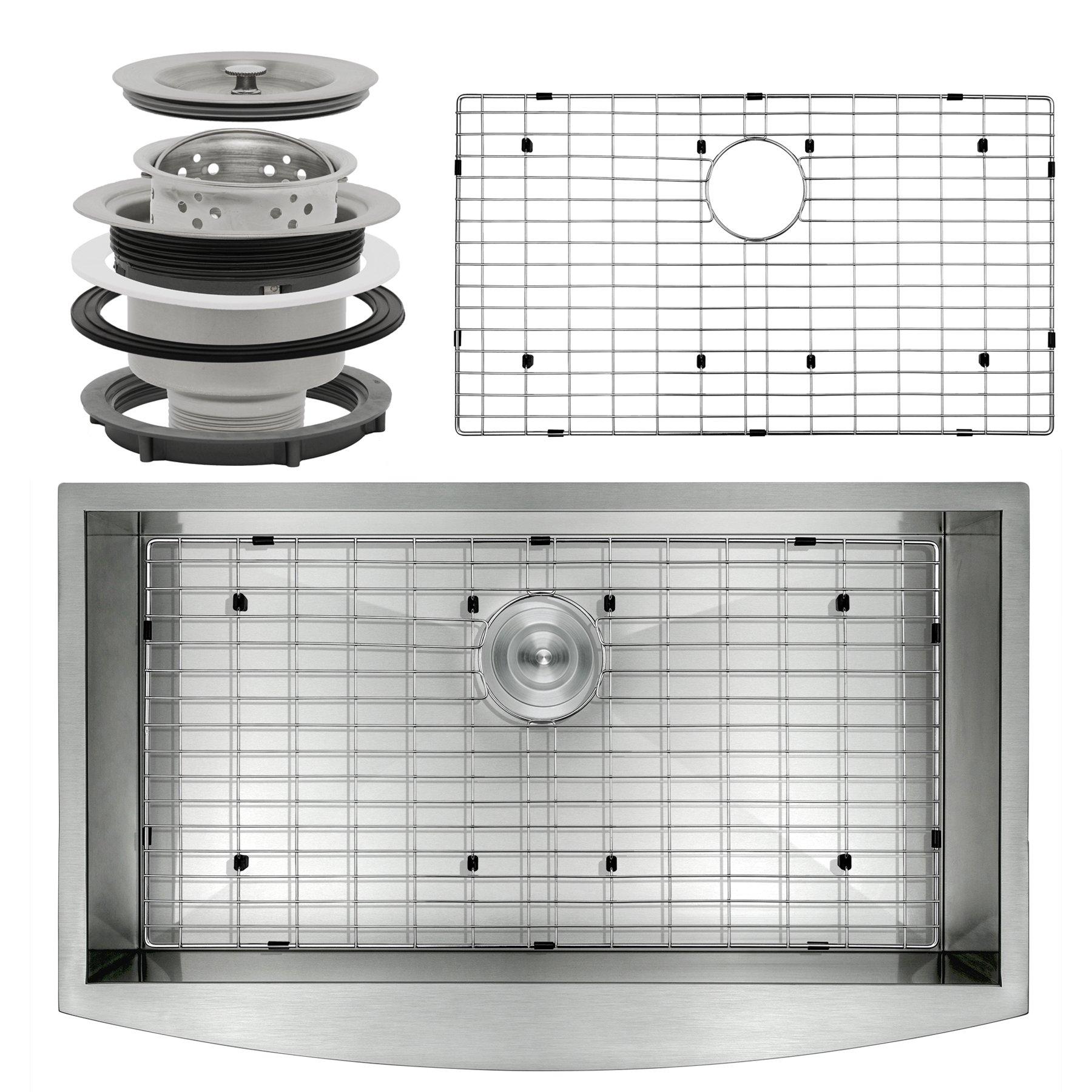 Perfetto Kitchen and Bath 33'' x 22'' x 9'' Apron Undermount Handmade 18 Gauge Stainless Steel Single Basin Kitchen Sink w/ Dish Grid & Drain Combo