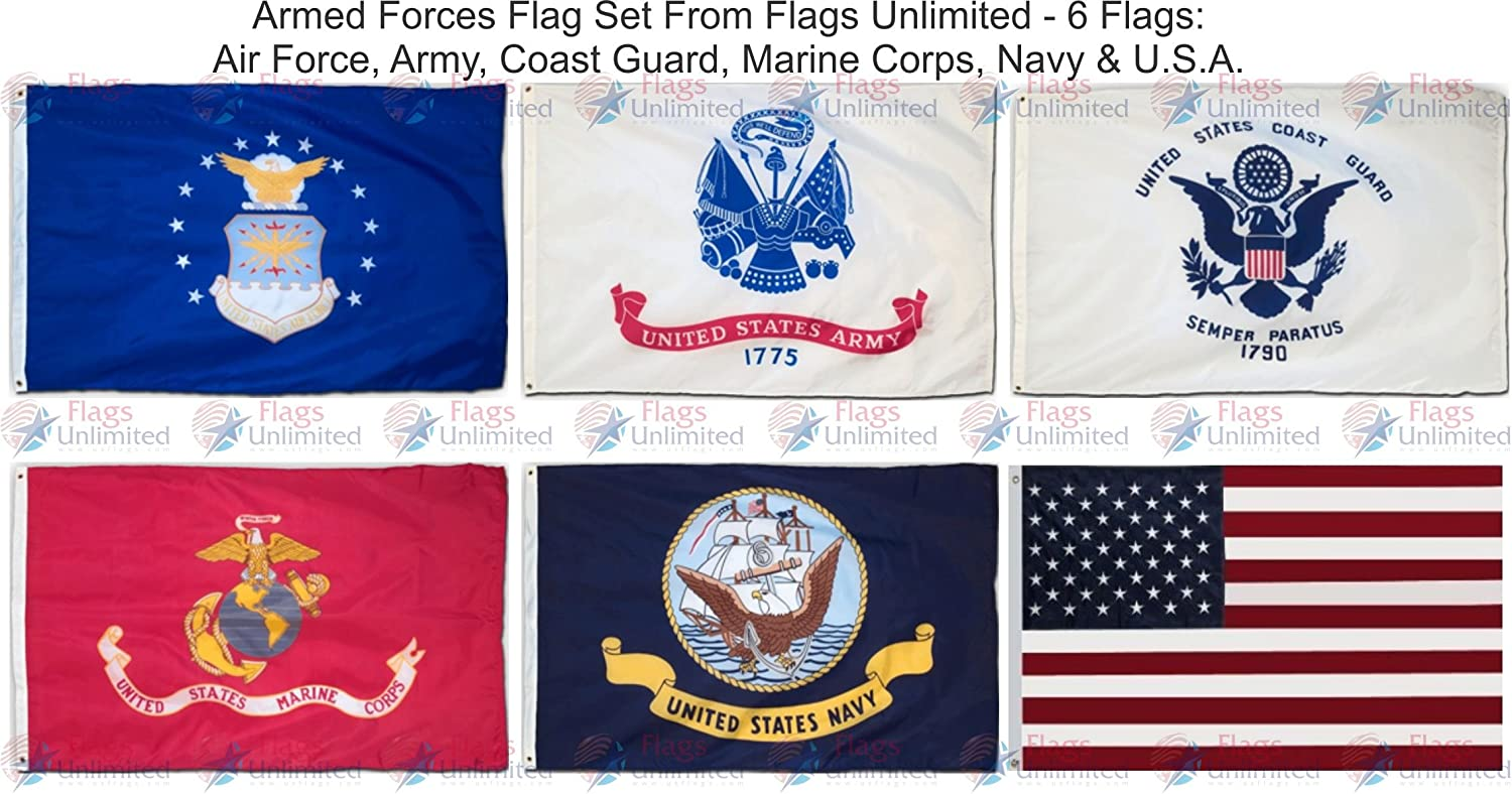Amazon Armed Forces 6 Flag Set 3 Ft X 5 Ft Garden Outdoor