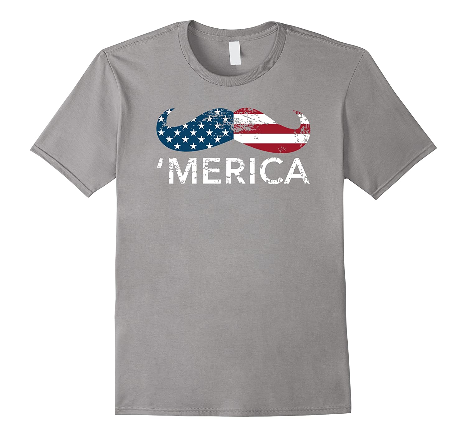 'Merica mustache USA Patriotic Memorial Day tee shirt-TH