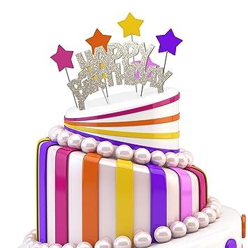 Jennygems Happy Birthday Cake Topper Elegant Sparkle Silver Cake