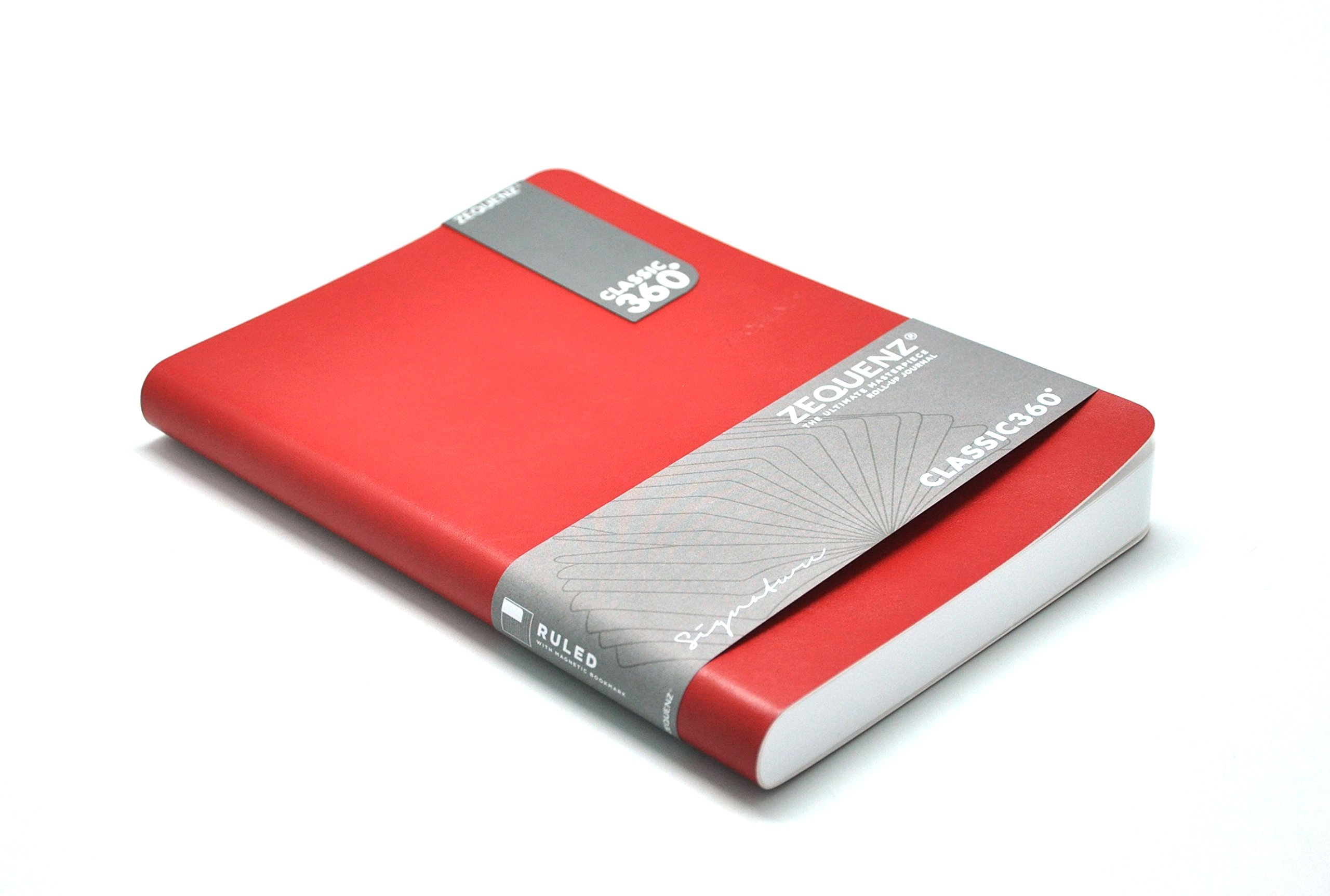 Zequenz Classic 360 Soft Bound Journal, Soft Cover Notebook, Large, 5.75'' x 8.25'', Red cover, 200 sheets / 400 pages, Squared, Graph, Grid Pattern premium paper by Zequenz