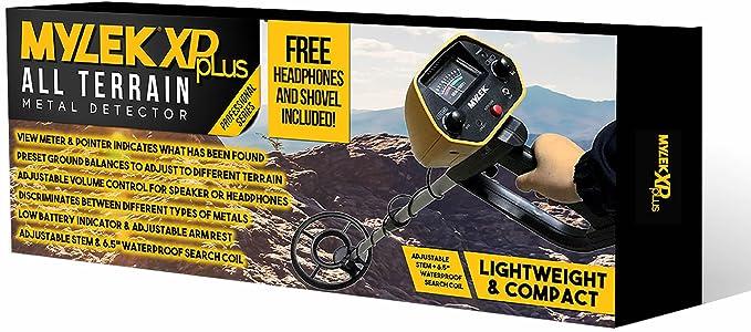 Detector de metales Mylek® XP pLus con auriculares y herramienta 3 en 1, detecta oro, plata, metales ferrosos y no ferrosos, ligero, compacto y de diseño ...