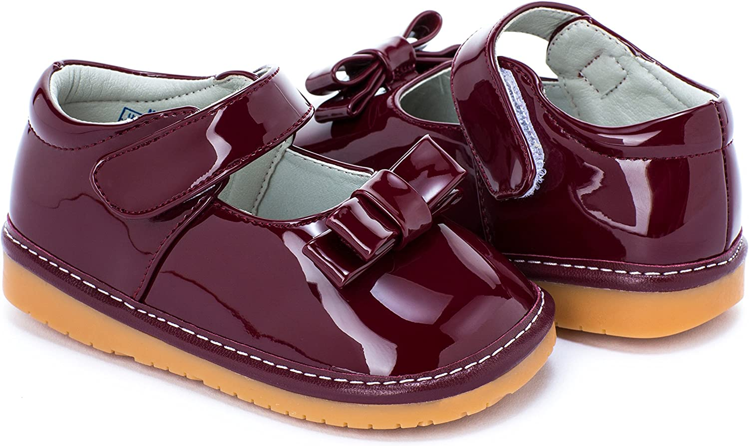 Squeaky Shoes Girls Deep Red for Baby//Toddler Wide Head with Removable Squeaker