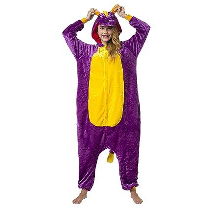 Katara-(10+ Modelos) Kigurumi Pijamas Disfraz Animal Halloween Adultos, Color dinosaurio lila, Talla 175-185cm (1744)