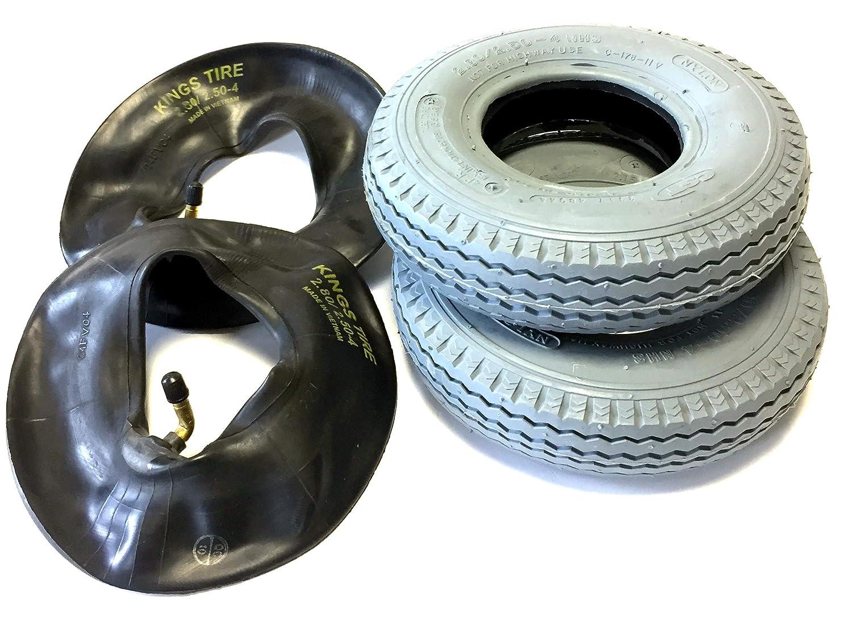 Silla 2 neumáticos 2.80/2.50 - 4, Gris, 2 pieza Manguera ángulo Válvula, estructura 4 PR Neumáticos y estable con Calle Perfil, silla Neumáticos para ...