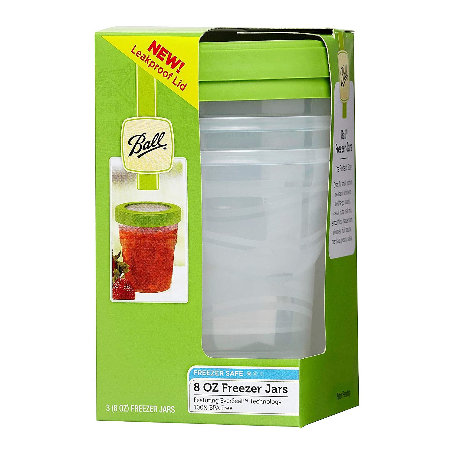 1-Pack 3-Count per Pack Ball Plastic Pint Freezer Jars with Snap-On Lids 8-Ounces