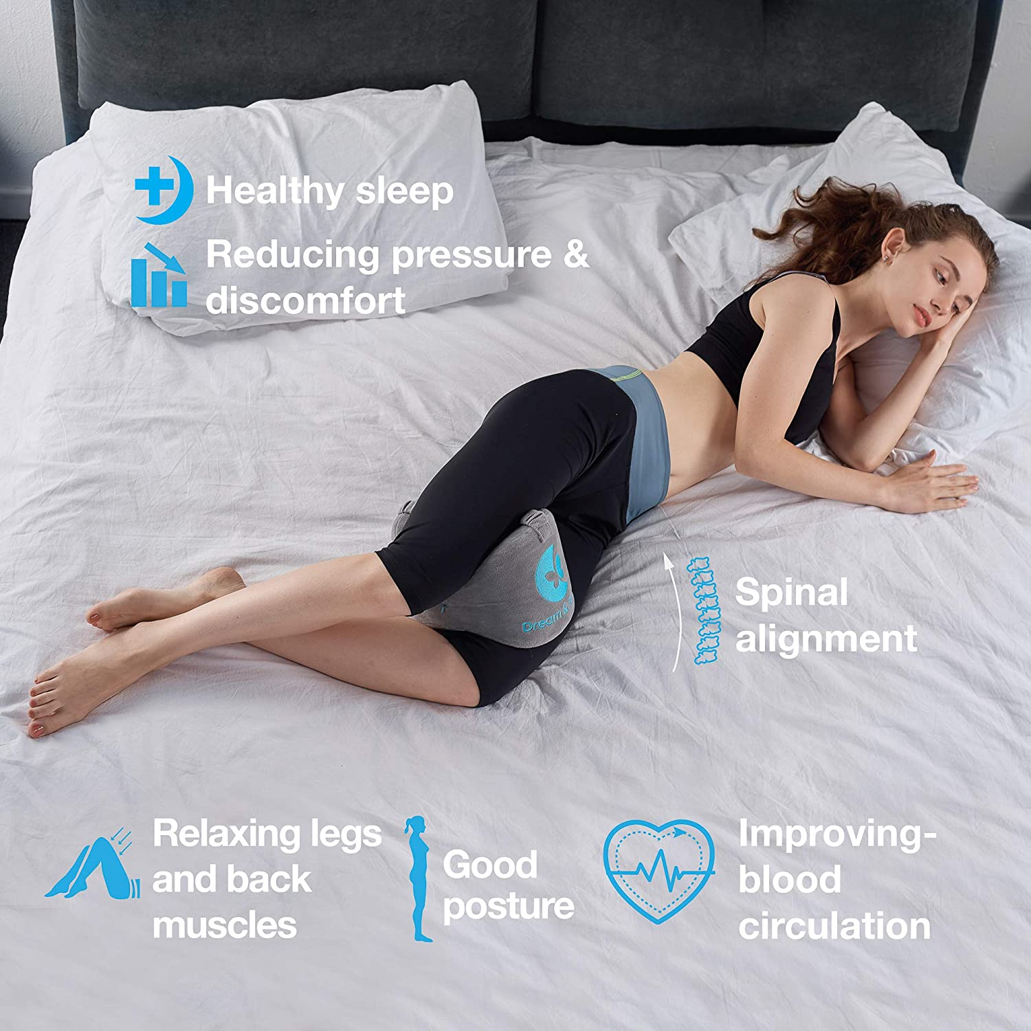 Leg Pillow Memory Foam Knee Pillow for Side Sleepers for Between Legs Dream Hip Pillow Knee Pillows for Sleeping Leg Pillows for Sleeping on Side SI Joint Sciatica Orthopedic Knee Pillow for Back Pain: Kitchen & Dining