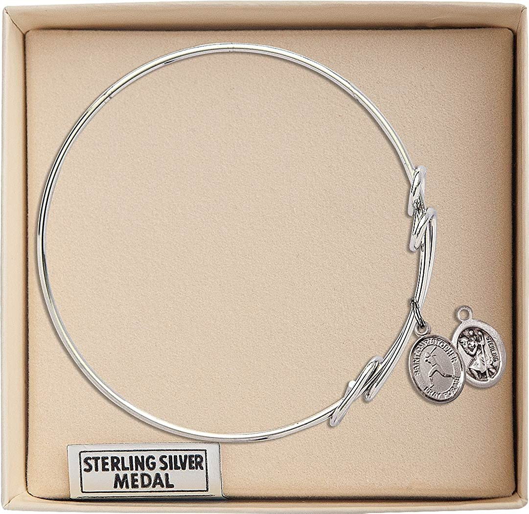 Christopher//Softball charm. 8 1//2 inch Round Double Loop Bangle Bracelet with a St