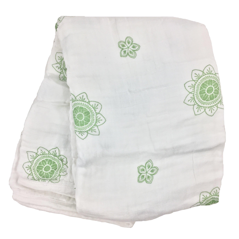 Zen Flower Green Double Layer Muslin Swaddling Blanket, Made from Organic Cotton