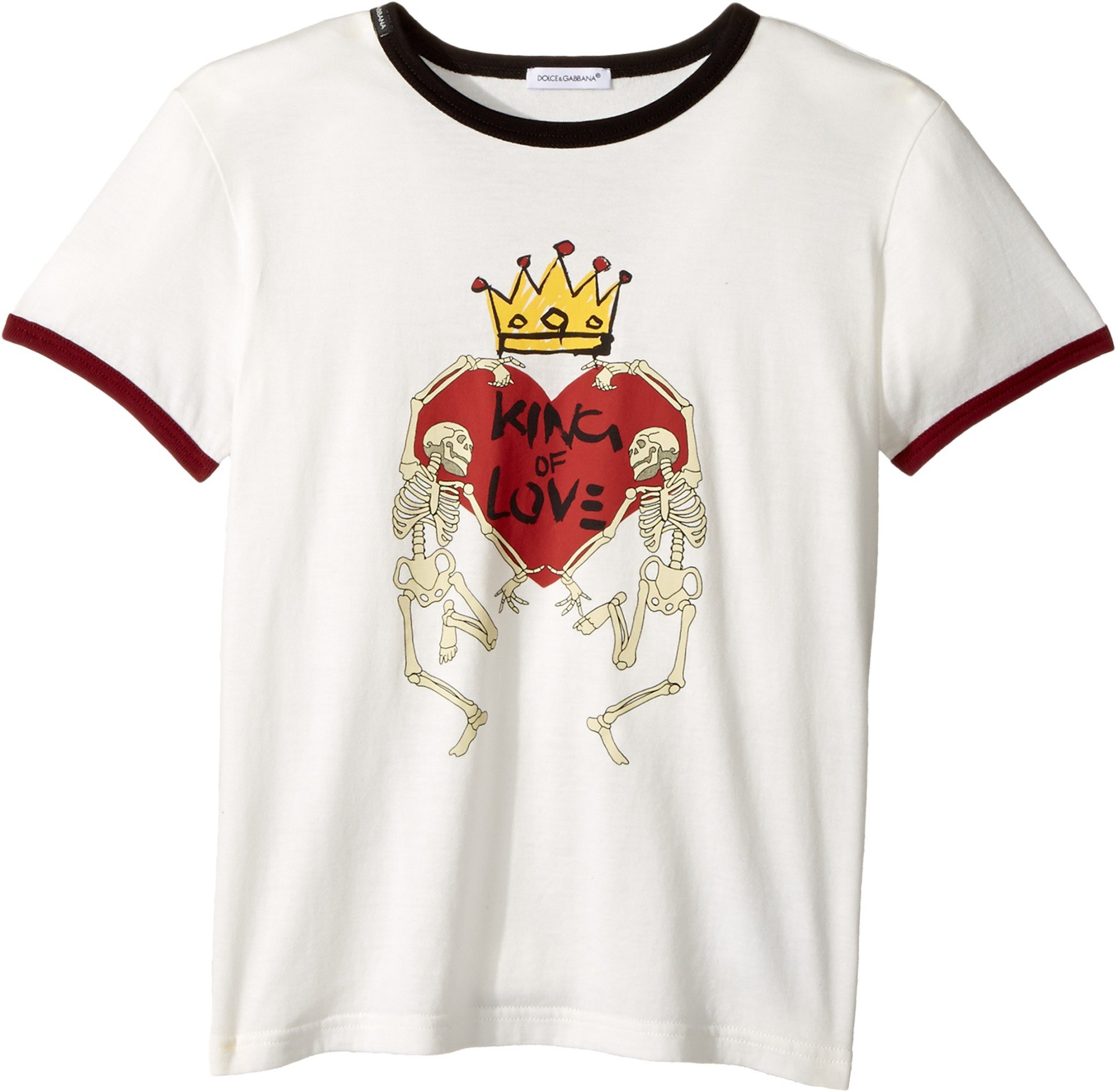 Dolce & Gabbana Kids  Baby Boy's King of Love T-Shirt (Toddler/Little Kids) White Print 6 by Dolce & Gabbana