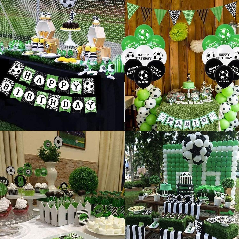 para ni/ños fan/áticos del f/útbol tema deportivo suministros para fiestas globos 47pcs Banner de cumplea/ños de f/útbol Decoraciones de fiesta de cumplea/ños tem/áticas de f/útbol adornos para tartas