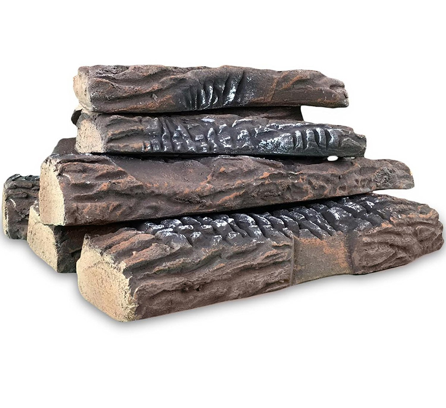 Regal Flame 5 Piece Set of Ceramic Wood Large Gas Fireplace Logs Logs For All Types of Indoor, Gas Inserts, Ventless & Vent Free, Propane, Gel, Ethanol, Electric, or Outdoor Fireplaces & Fire Pits. RFA3005
