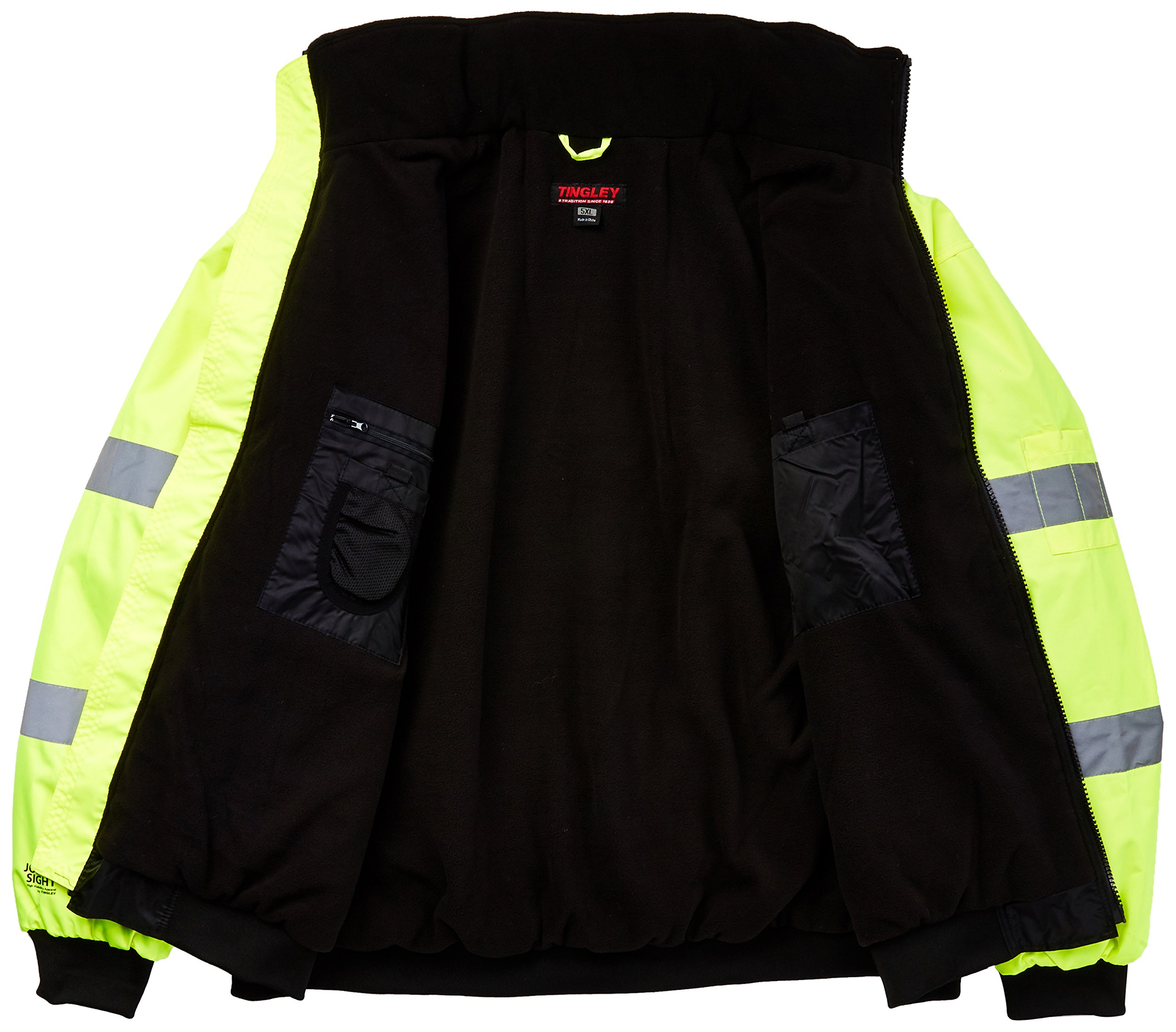 Bomber J26002.XL Jacket with 2'' Silver Reflective Tape, Size X-Large, Fluorescent Yellow/Green/Black by Bomber (Image #3)