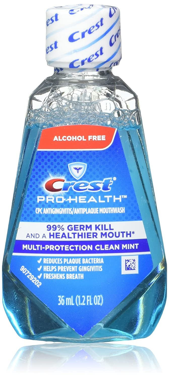 Crest Pro-Health Mouthwash, Alcohol Free, Multi-Protection Clean Mint 1.2 oz (Pack of 18)