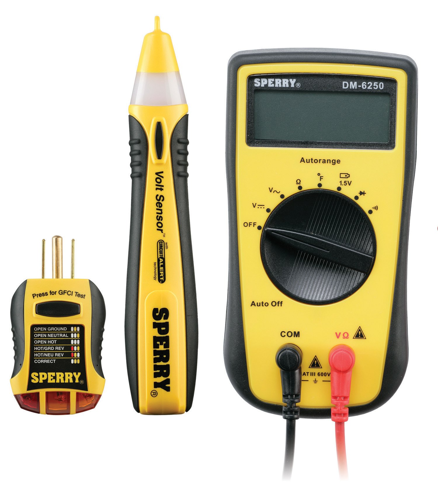 Sperry Instruments SK-1 Professionals Essential 3-Piece Electrical Kit: Non-Contact Voltage (VD6504), GFCI Outlet Tester (GFI6302), 7 Function Digital Multi-Meter (DM6250)