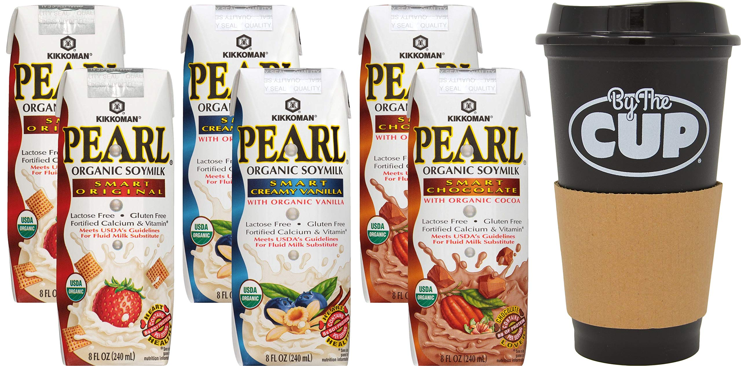 Kikkoman Pearl Organic Soymilk Variety 2 - 8 Ounce Cartons Each Flavor - Original, Vanilla, and Chocolate (Pack of 6) with By The Cup To Go Cup by By The Cup (Image #5)