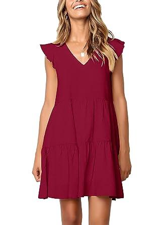 3da52deaf260d FHKDL Women's Short Sleeve Summer Dress Casual Ruffle Swing Shift Dresses  Red/M