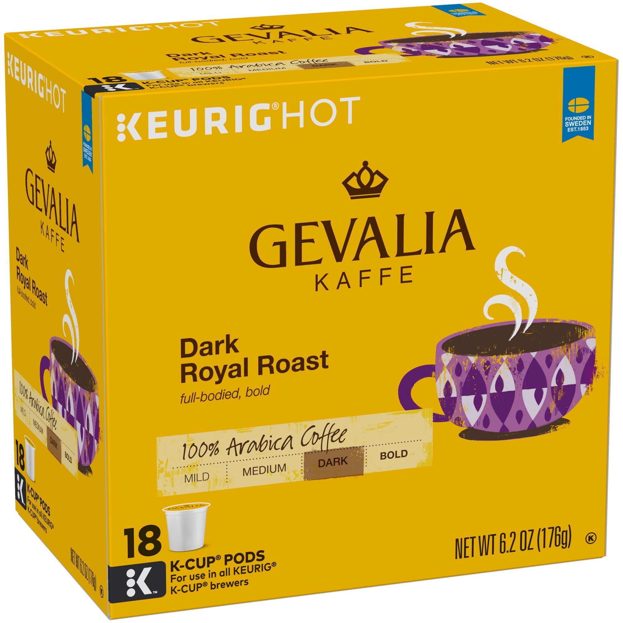 Gevalia Dark Royal Roast Coffee K-Cup Pods 18 Count Box (Pack of 2) by Gevalia