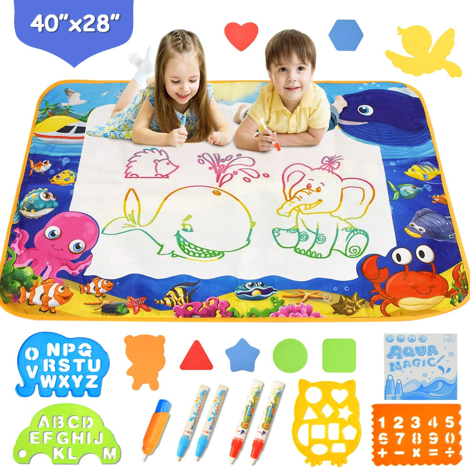Mixi Aqua Magic Mat, Kids Toys Age 2 3 4 5 6 Year Old Girls Boys Extra Large Doodle Mat Painting Board, Water Drawing Mat for Kids with Doodle Pen, Educational Toys for Kids Toddler Gifts