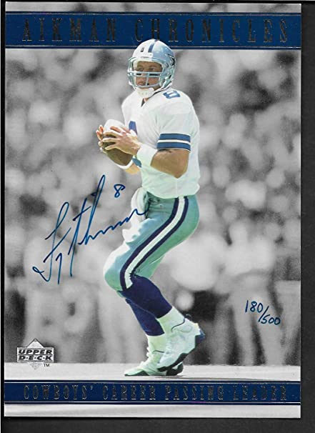 278aad86395c9 Amazon.com: 1996 UPPER DECK AUTHENTICATED TROY AIKMAN CHRONICLES 5x7 ...