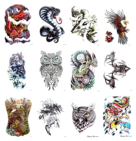 """1b7df81583c9e Image Unavailable. Image not available for. Color: 10 sheets Halloween  skull moose hawk large 8.25"""" half-sleeve arm tattoo cool fake"""