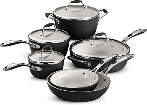 Tramontina Gourmet Ceramica Deluxe Cookware Set, 10-Piece, Metallic Black