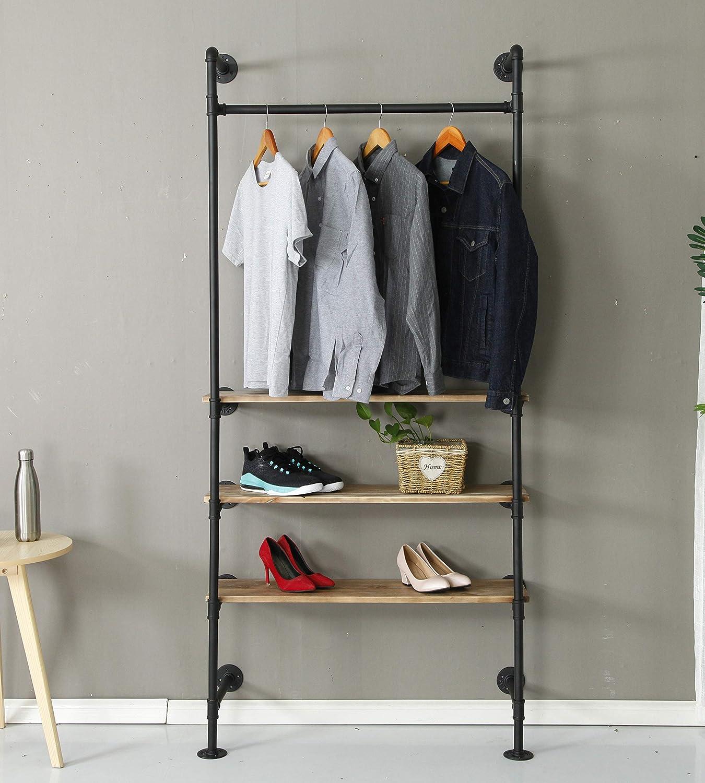 Industrial Pipe Clothing Rack Wood Garment Rack