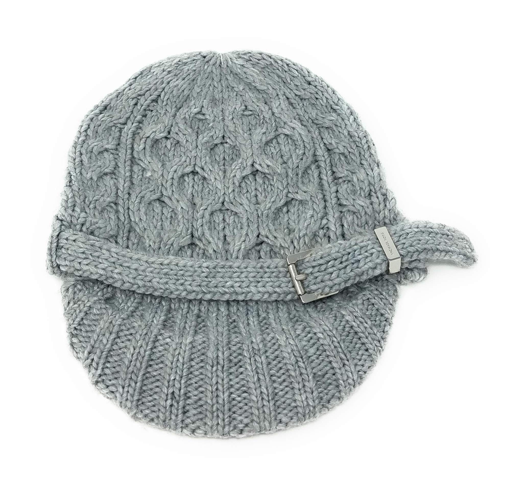Michael Kors Cableknit Newsboy Cap with Silver Buckle,Grey