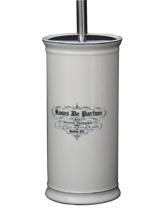 Roses De Parfum Ceramic Vintage Bathroom Accessory Toilet Brush Holder with Brush Gift Idea Designo