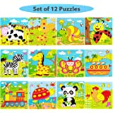 PETITOY Wooden Animal Jigsaw Mini Puzzles Early Educational Toys [12 Puzzles] for Toddlers and Kids [1 2 3 Years Old Boys & Girls] with Bright Vibrant Colors Gift (Cartoon Wooden 9 Pieces)