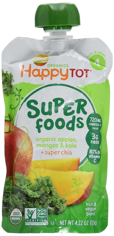 HappyFamily - HappyTot Organic Super Foods Pouch Apples. Mangos & Kale + Super Chia - 4.22 oz. Happy Family
